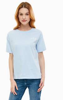 Хлопковая голубая футболка с вышивкой Ichi