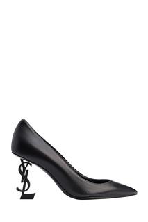 Черные туфли с фигурным каблуком Saint Laurent