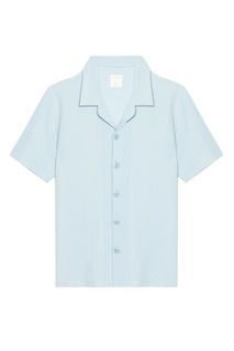 Голубая рубашка с короткими рукавами Sandro