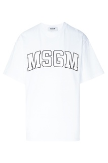 Футболка с контрастным логотипом Msgm