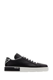 Черные кожаные кеды с треугольным логотипом Prada