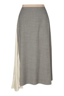 Серая юбка с контрастной вставкой Prada