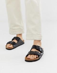 Черные лакированные сандалии Birkenstock Arizona Birko Flor - Черный