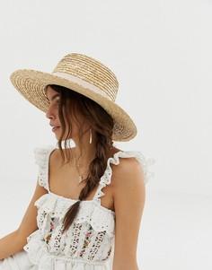 Натуральная соломенная шляпа со светлой лентой ASOS DESIGN - Коричневый
