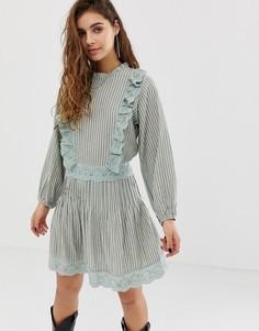 Короткое приталенное платье в полоску с вышивкой ришелье ASOS DESIGN - Мульти