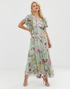 Платье миди с оборками на рукавах ASOS EDITION Вloombox - Розовый