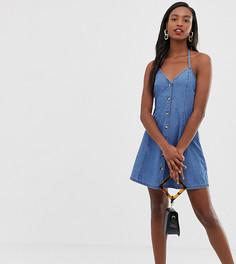 Синее выбеленное джинсовое платье мини с халтером и пуговицами ASOS DESIGN Tall - Синий