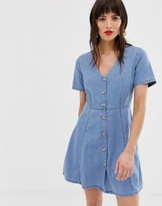 Синее джинсовое чайное платье на пуговицах ASOS DESIGN - Синий