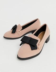Туфли на плоской подошве с бантиками ASOS DESIGN Montie - Розовый