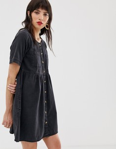 Джинсовое свободное платье на пуговицах с карманами ASOS DESIGN - Черный