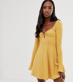 Короткое приталенное платье в рубчик с открытой спиной ASOS DESIGN Tall - Мульти