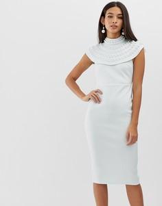 Платье-футляр миди с кейпом и искусственным жемчугом ASOS DESIGN - Мульти