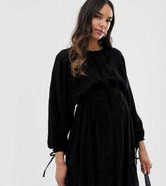 Платье мини с эластичной талией ASOS DESIGN Maternity - Черный