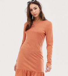 Платье с длинными рукавами в мелкий горошек glamorous Tall - Розовый