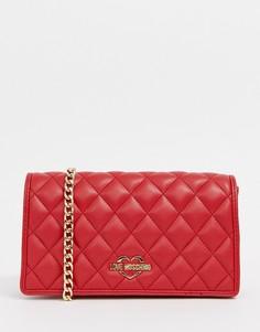 Стеганая сумка на плечо с ремешком-цепочкой Love Moschino - Красный