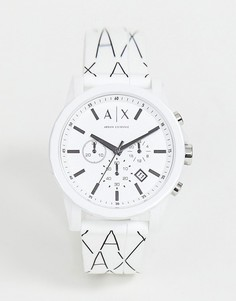 Часы 44 мм с хронографом и силиконовым ремешком Armani Exchange AX1340 Outerbanks - Белый