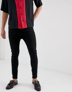 Черные джинсы скинни заниженного кроя с рваной отделкой сзади Religion - Черный