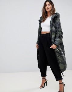 Дутое пальто с камуфляжным принтом G-Star Whistler - Серый