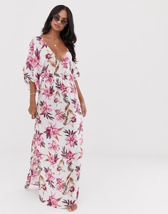 Платье макси с рукавами кимоно и цветочным принтом ASOS DESIGN - Мульти