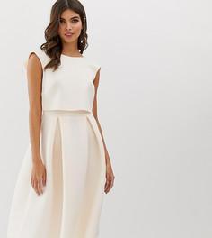 Платье миди для выпускного с укороченным топом ASOS DESIGN - Розовый