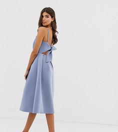Платье для выпускного миди с бантом на спине ASOS DESIGN - Синий