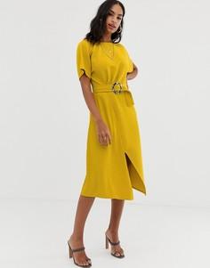 Платье миди с черепаховой пряжкой ASOS DESIGN - Желтый