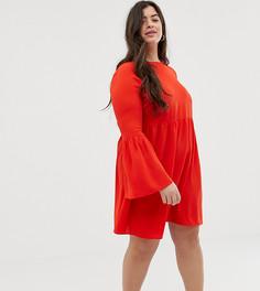 Свободное платье мини с расклешенными рукавами ASOS DESIGN Curve - Красный