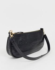 Черная сумка на плечо с крокодиловым узором My Accessories - Черный