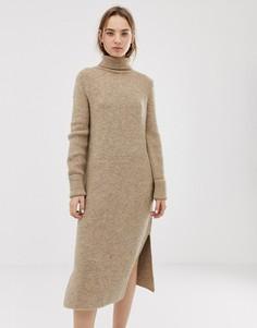 Платье-джемпер миди с разрезами по бокам ASOS DESIGN - Светло-бежевый