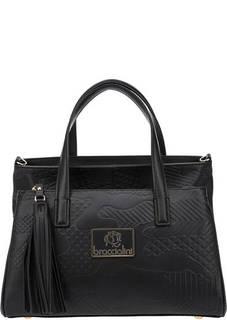 Черная сумка из натуральной кожи с тиснением Lola Braccialini