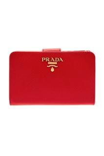 Красный кошелек из сафьяновой кожи Prada