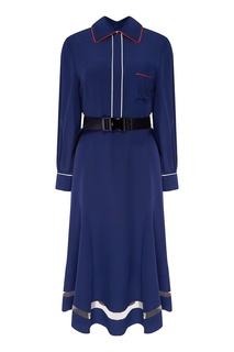 Синее платье-миди с отделкой Fendi