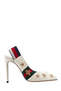 Белые слингбэки с вышивкой и полосами Web Gucci