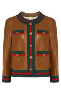Кожаная куртка с отделкой полосами Web Gucci