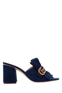 Синие замшевые слайдеры GG Gucci