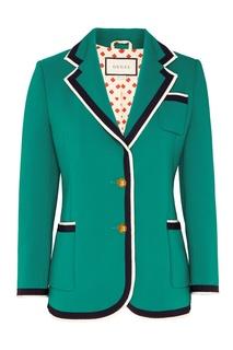 Зеленый блейзер с контрастной отделкой Gucci