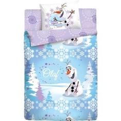 Детское полутороспальное постельное белье Disney Холодное Сердце Олаф Зима с наволочкой 70х70 (186496)