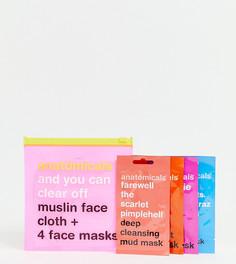 Тканевая салфетка и 4 маски для лица Anatomicals эксклюзивно для ASOS - Бесцветный