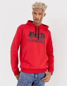 Худи с логотипом Love Moschino - Красный