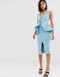 Светло-синее платье с оборками и баской Lavish Alice - Синий