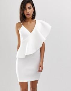 Белое платье мини на одно плечо с оборкой Lavish Alice - Белый