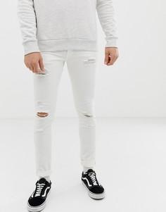 Белые джинсы скинни с заплатками Jack & Jones - Белый