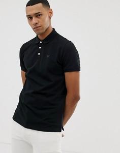 Поло из пике черного цвета с логотипом Emporio Armani - Белый