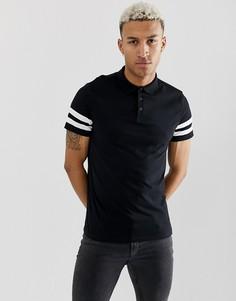 Черная футболка-поло из органического хлопка с полосами на рукавах ASOS DESIGN - Черный