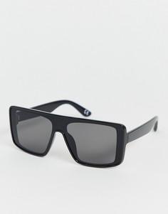 Черные солнцезащитные очки-маска с плоским верхом ASOS DESIGN - Черный