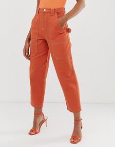 Оранжевые джинсы бойфренда с контрастными строчками ASOS DESIGN carpenter - Оранжевый
