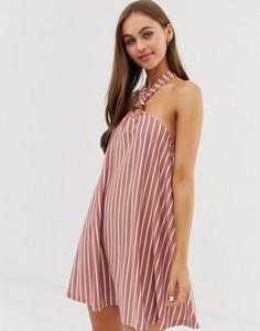 Свободное платье мини в полоску с бретелью через шею ASOS DESIGN - Мульти