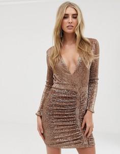 Золотистое платье мини с отделкой пайетками Lavish Alice - Золотой