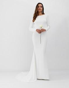 Свадебное креповое платье с годе и низким вырезом на спине Club L - Белый