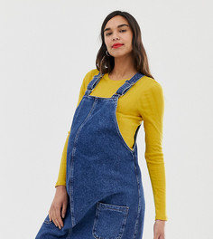 Синее платье-сарафан с пряжкой New Look Maternity - Синий